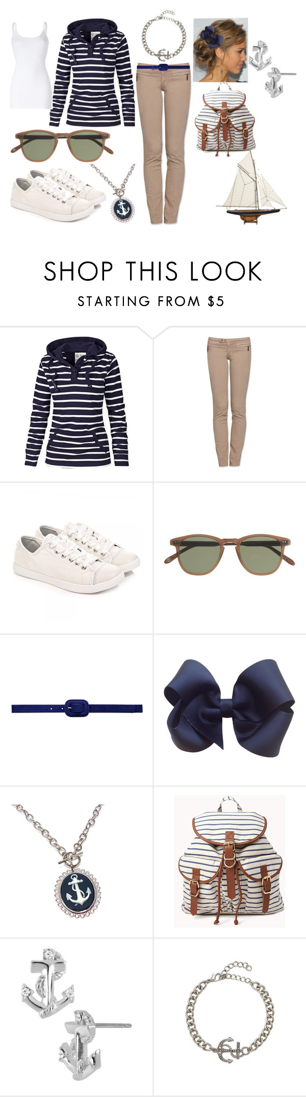 """""""Nautical"""" by lacy-duesterhaus ❤ liked on Polyvore featuring Fat Face, Authentic Models, Tory Burch, DKNY, J.Crew, Forever New, Forever 21, Betsey Johnson and BaubleBar"""