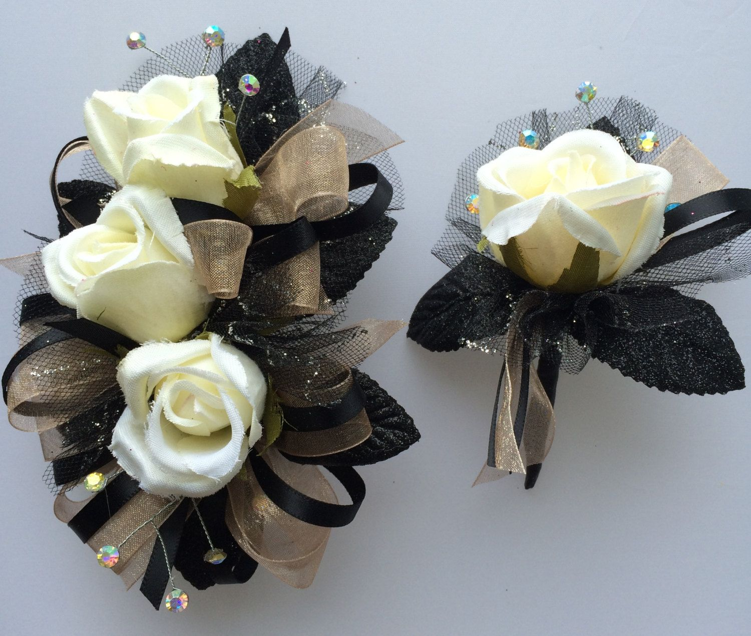 Black Champagne Silk Prom Corsage And Boutonniere Set By