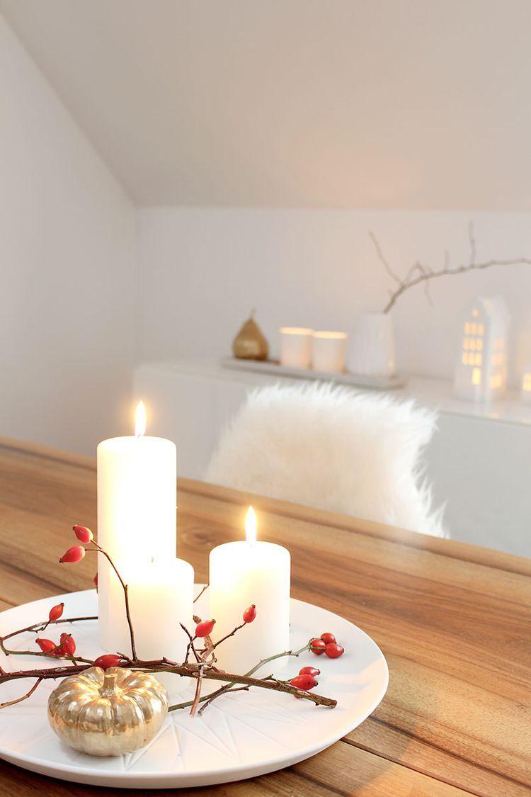 Herbstlich dekorieren mit Kerzen (provinzkindchen #hausdekowohnzimmer