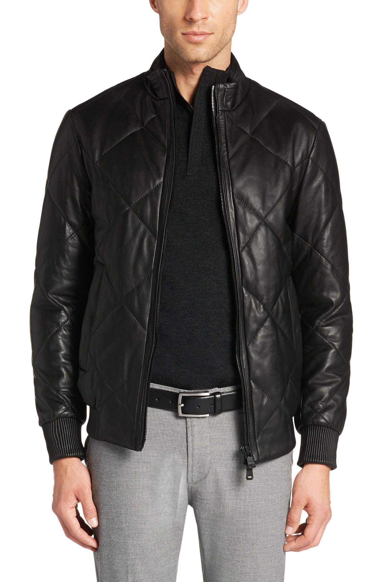 6dc8d65c143 Regular-fit leather jacket   Naris . Hugo Boss Naris Leather Quilted Bomber  Jacket 40R Black ...