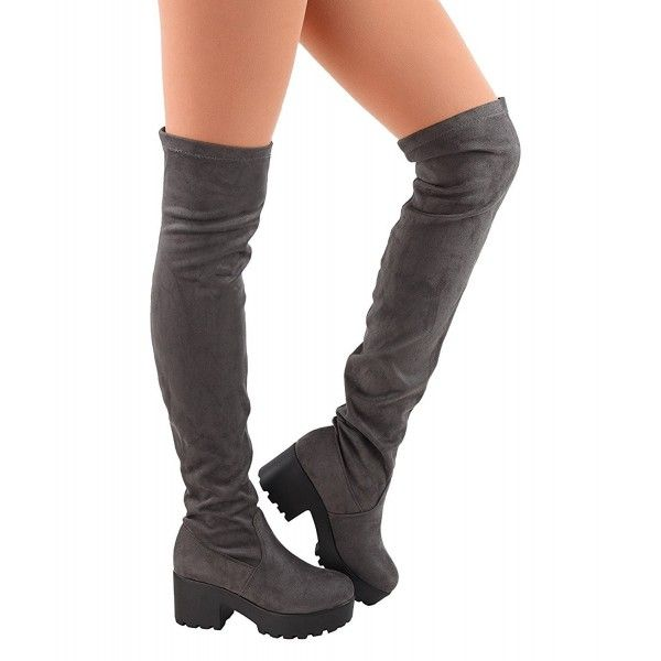 60453ffd281b Womens Thigh High Platform Boots Sexy Chunky Block Heel Stretch Pull ...