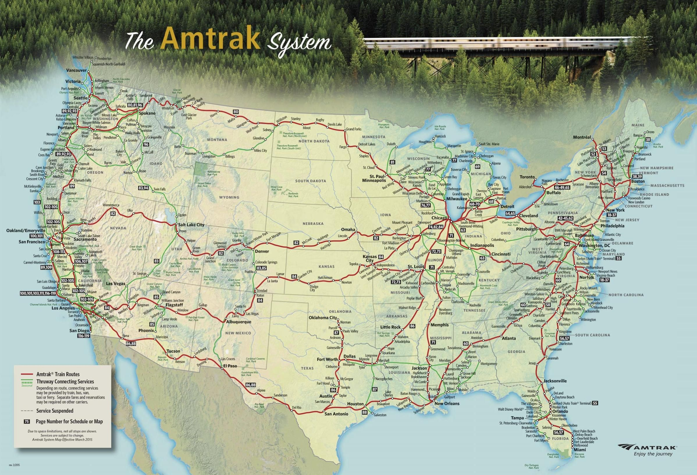 The Amtrak National Route Map map amtrak