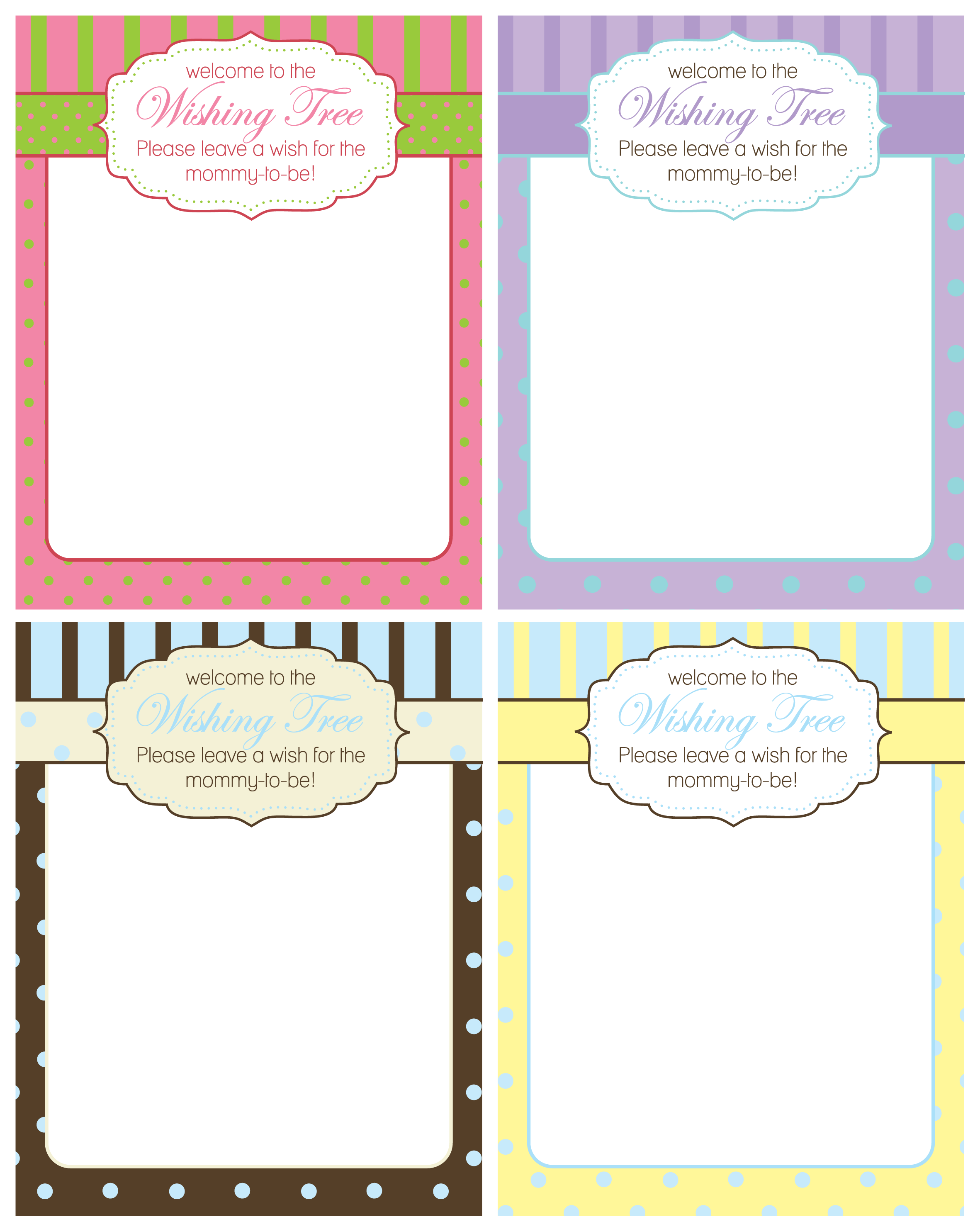 FREE Baby Shower Wishing Tree Cards from A Party Studio