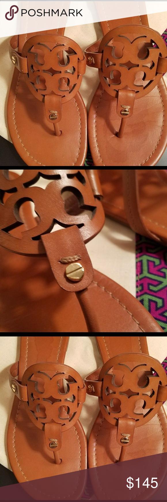 4eedf9394bacc Tory Burch Leather Vachetta Miller Sandals 8.5