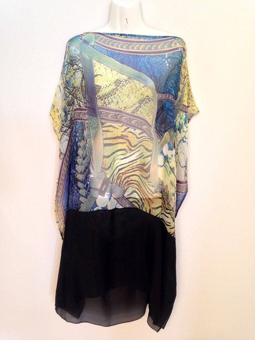 Pelts and Pebbles Pure Silk Chiffon Kaftan With Black Silk Border by Molly Kaftans by MollyKaftans on Etsy