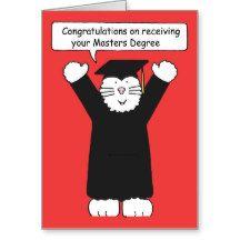 masters degree congratulations cat lover greeting card congrats