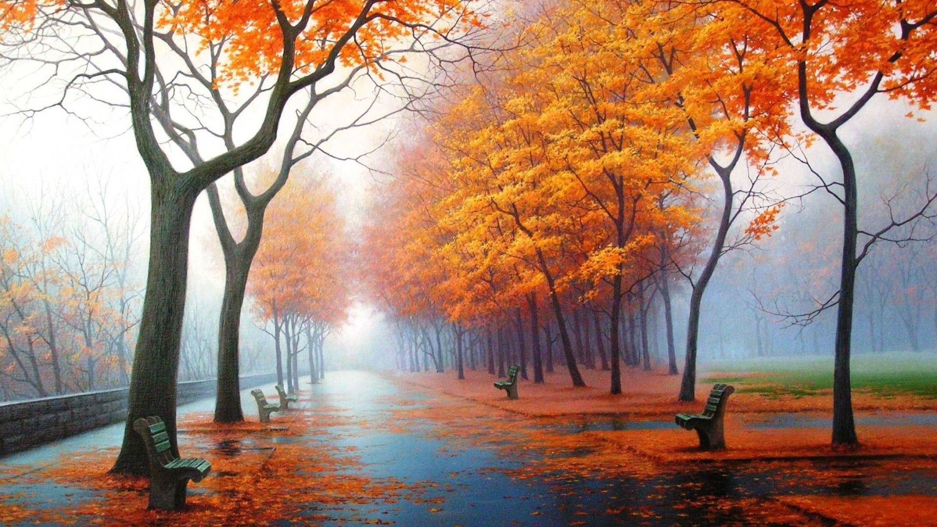 Autumn Rain Park Leaf Bench Wallpaper Mixhd Wallpapers Autumn Wallpaper Hd Nature Wallpaper Beautiful Wallpaper Hd