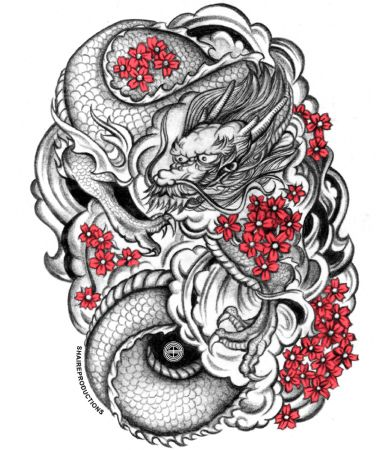 Asian Dragon With Red Cherry Blossoms Inkspiration Pinterest