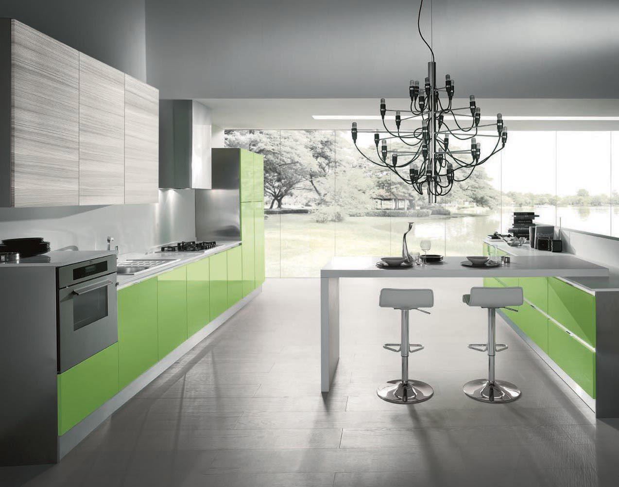 Cucina FLASH > #arredamento #verde #acido #design | Colore in cucina ...