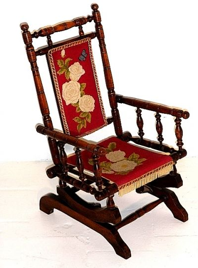 Childs antique platform rocking chair rockers