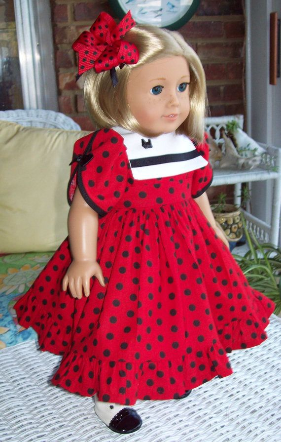 American Girl doll or 18 inch doll dress, slip, and hair clip. Daisy ...