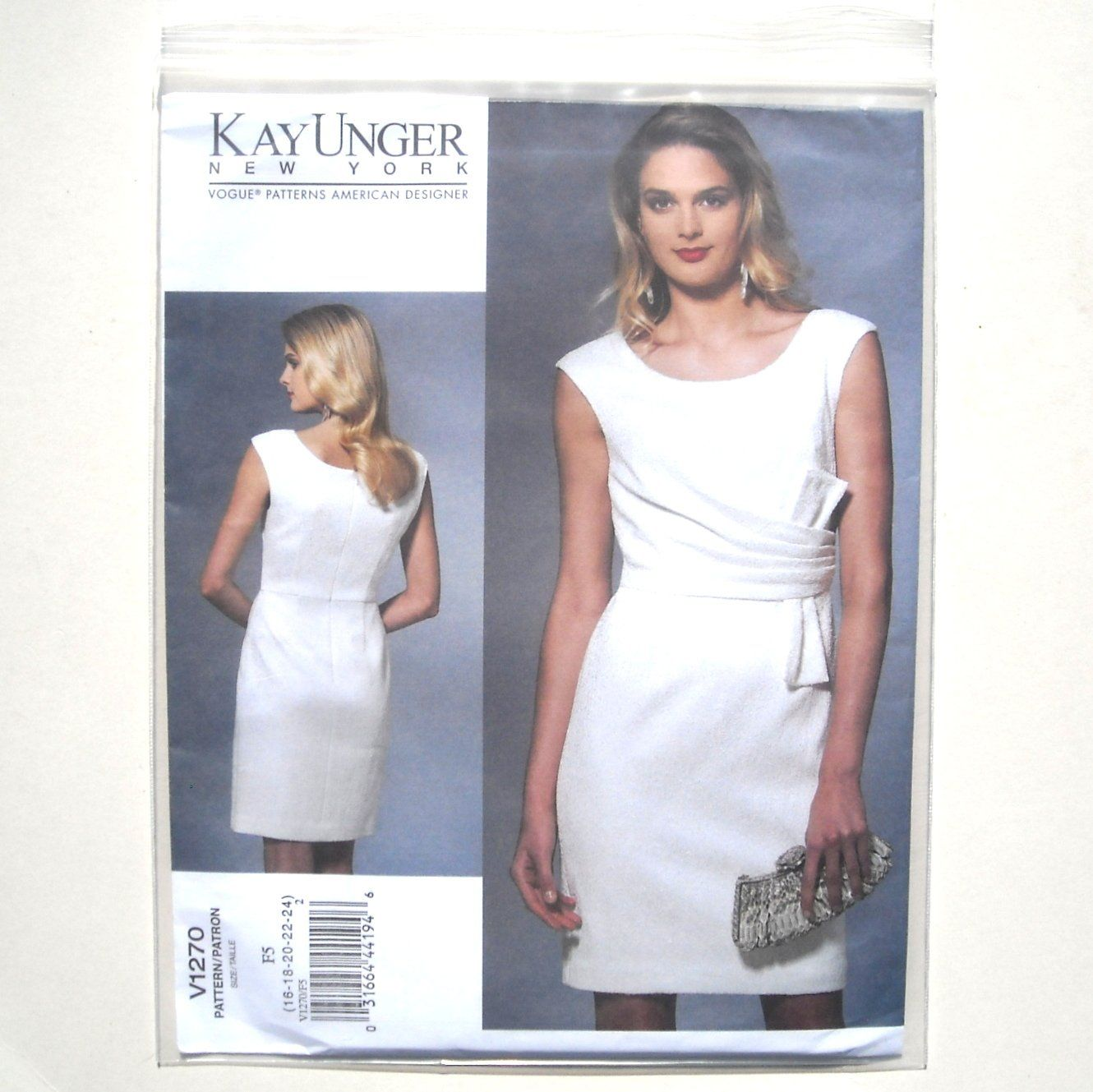 Vogue Designer Pattern V1270 Kay Unger Size 16 24 Misses Evening