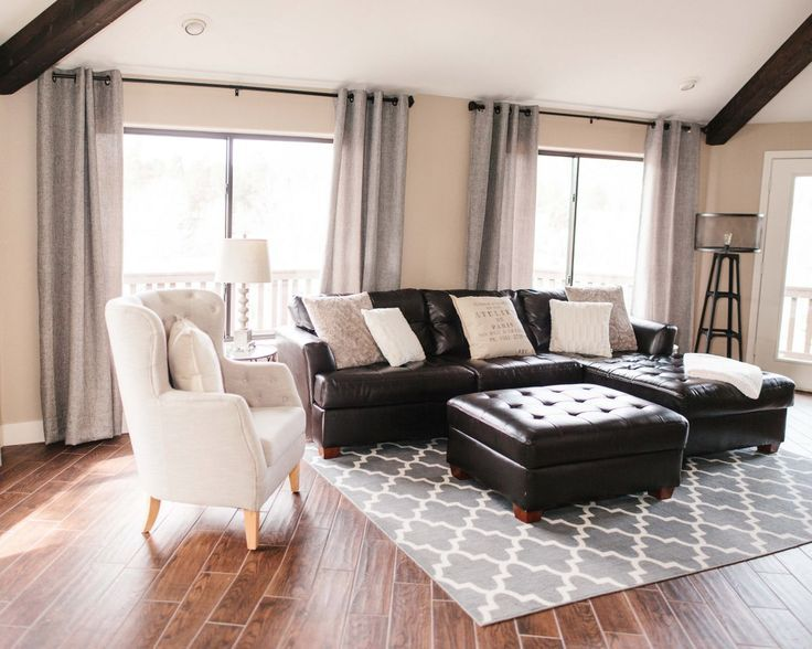 How to visually lighten up dark leather furniture lounge - Black brown and white living room ...