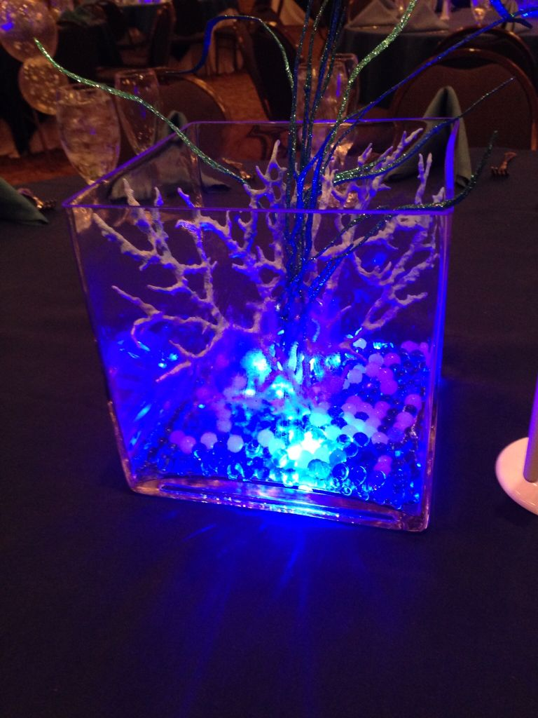 Under the sea centerpiece coral led water pearls