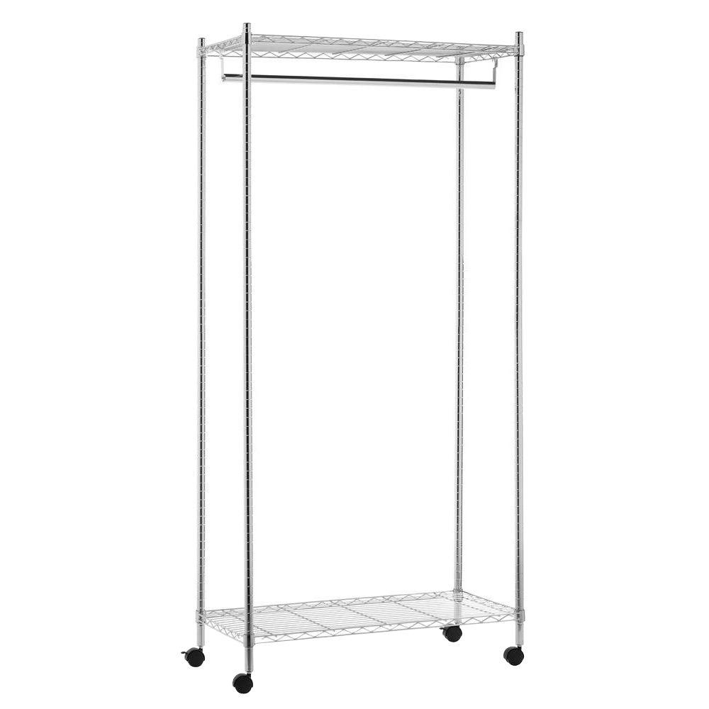 Home Depot Garment Rack Extraordinary Deluxe Commercial Urban Steel Rolling Garment Rack In Chrome Grey Design Ideas
