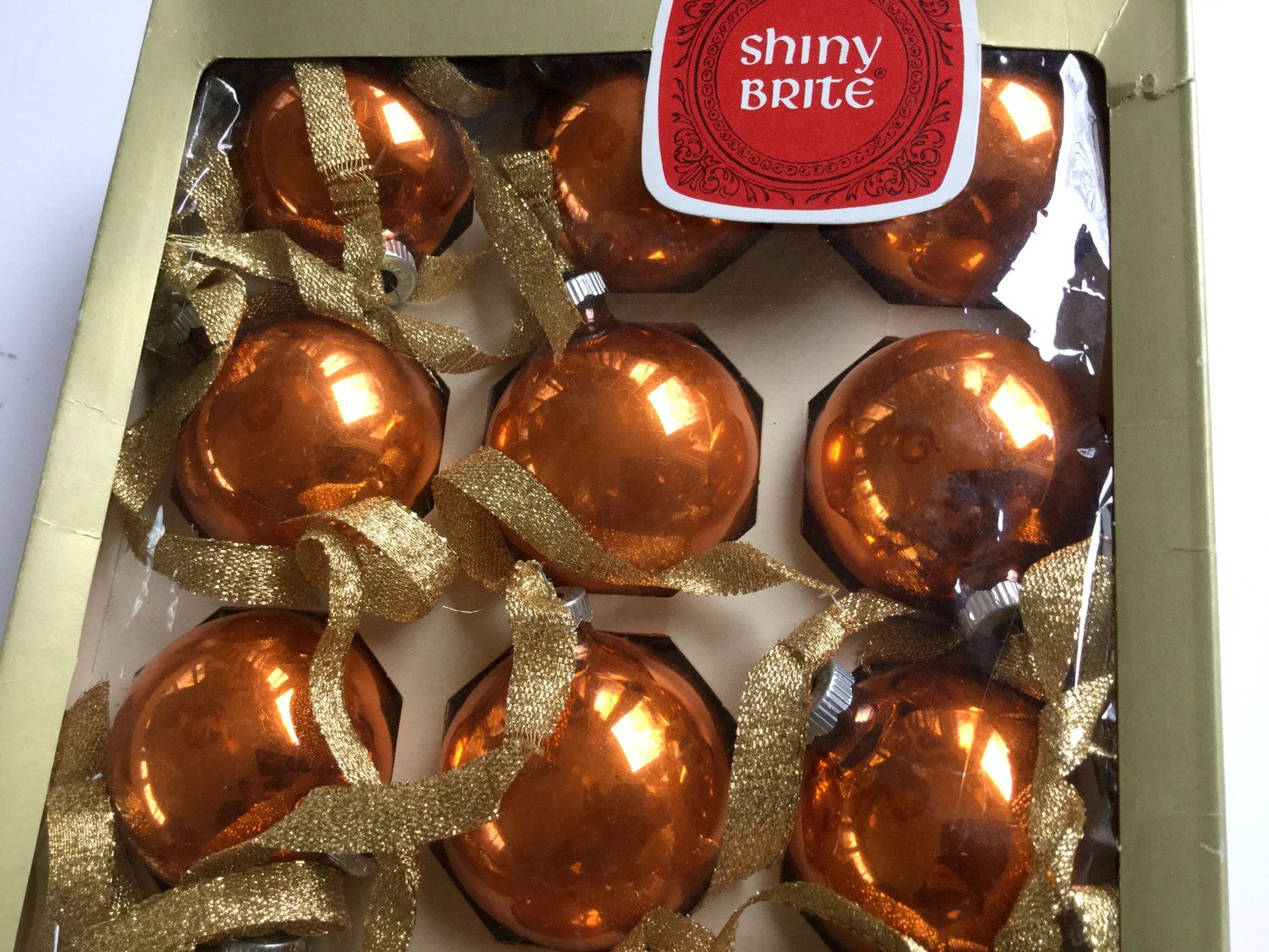 Glass christmas ball ornaments - Vintage Collection Orange Shiny Brite Glass Christmas Ball Ornaments Lot In Original Box