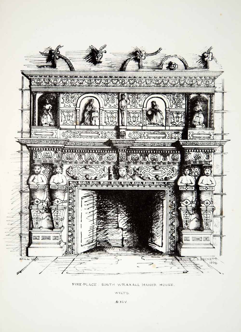 Manor House Drawing: 1859 Lithograph CS Beckett Art Fireplace Drawing Room