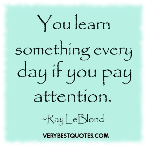 Some Educational Quotes: Learning Quotes You Learn Something Every Day If You Pay