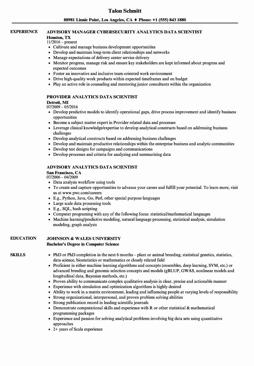 23 Data Scientist Resume Example in 2020 (With images