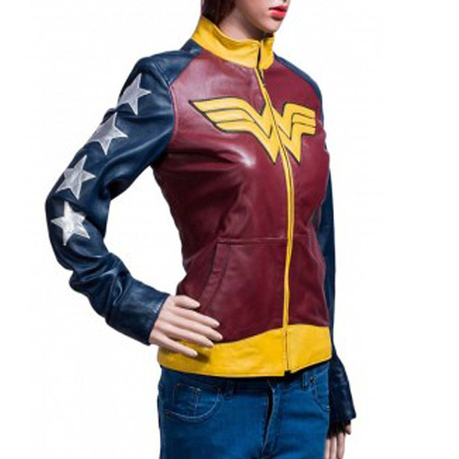 Wonder Woman Leather Jacket l Leather Jacket For Women: Amazon.co.uk: Clothing - Wonder woman ...
