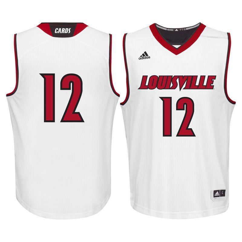 #12 Louisville Cardinals adidas Replica Basketball Jersey - White