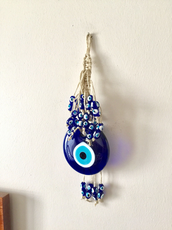 Evil Eye Wall Hanging Evil Eye Bead Turkish Eye Macrame Nazar Amulet Blue Eye Decor Protection Talisman Evil Eye Design Eye Decor Wall Charm