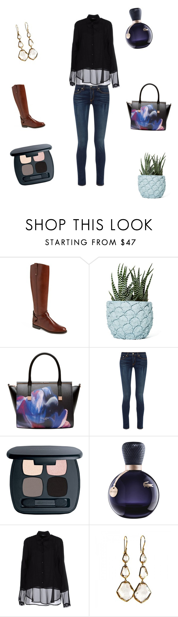 """""""Skinny and a black blouse"""" by patricia-lachat-burkhalter ❤ liked on Polyvore featuring Tory Burch, Chen Chen & Kai Williams, Ted Baker, rag & bone, Bare Escentuals, Lacoste, Siste's and Ippolita"""