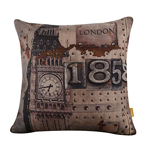 "$14 18""x18"" Rusted Metallic London Big Ben Burlap Cushion Covers Pillow Case (CC839A) LINKWELL http://www.amazon.com/dp/B014N9FBGQ/ref=cm_sw_r_pi_dp_.I2owb0YCXVCZ"