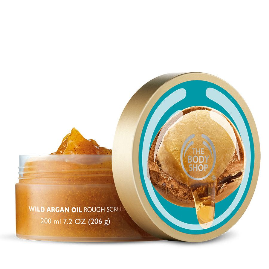 Use The Body Shop Wild Argan Oil Scrub as an exfoliator to lift away dead skin cells and reveal radiant skin.