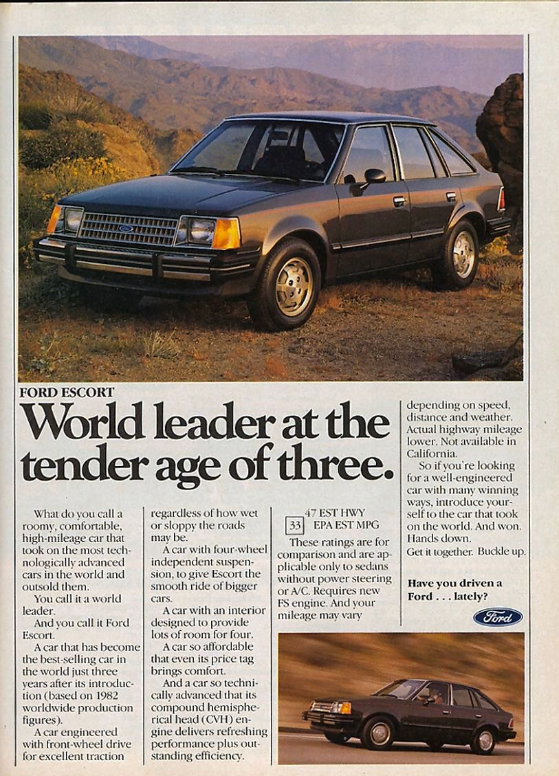 1983 Ford Escort | Auto Ads of Yester-Year | Pinterest | Ford escort ...