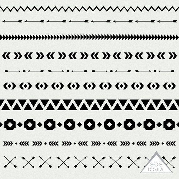 Tribal Borders Geometric Borders 12 Inch Border Black Borders Tribal Patterns Png Files Small Commercial Use Digital Scrapbooking Tribal Patterns Borders Digital Scrapbooking