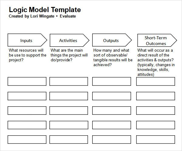 Logic Model Template - More than 40 Logic Model Templates  Examples