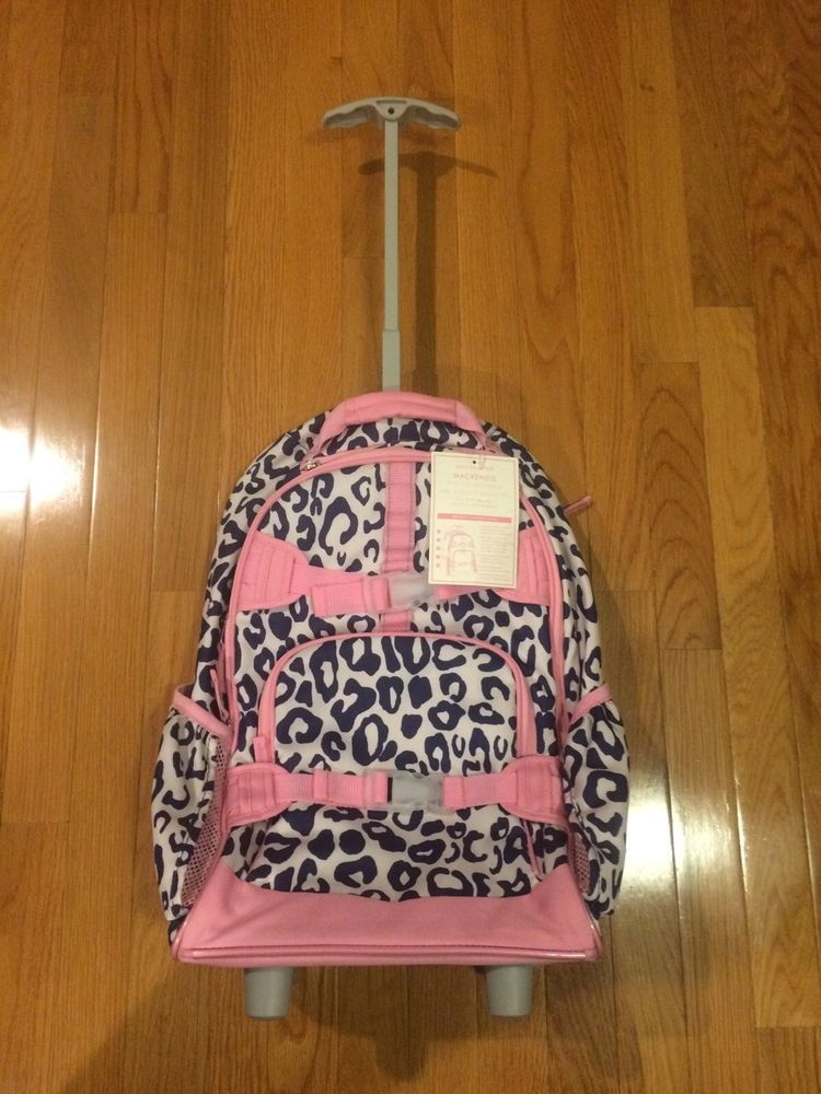 New Pottery Barn Kids Mackenzie Navy Pink Cheetah Rolling Backpack