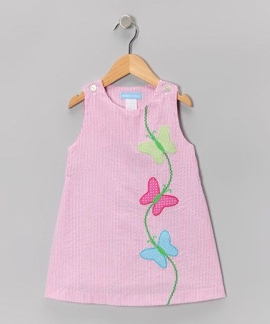 Take a look at this Pink Stripe Butterfly Jumper - Infant, Toddler & Girls by Monday's Child on #zulily today!