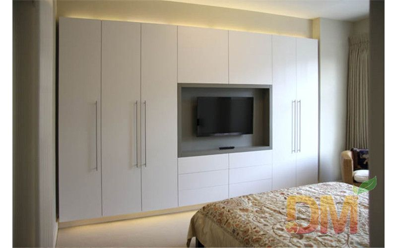 Captivating Hight Gloss Bedroom Set Built In Wardrobe With TV Unit Closet