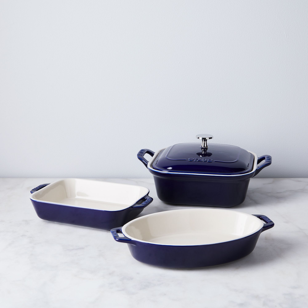 Staub Ceramic 4 Piece Baking Set In Red Blue White Colors On