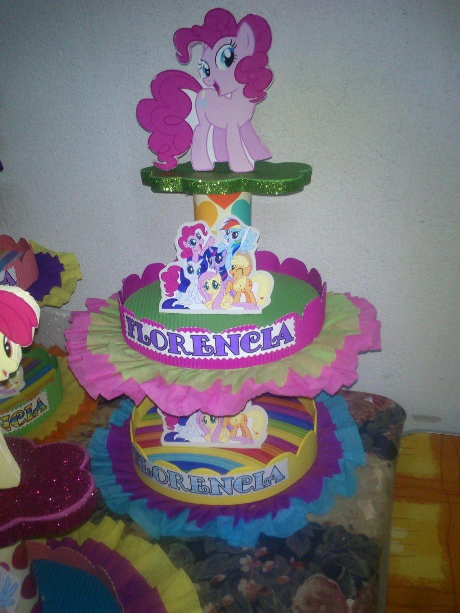 Adornos para tortas centros de mesa my little pony 95 for Decoracion de tortas infantiles