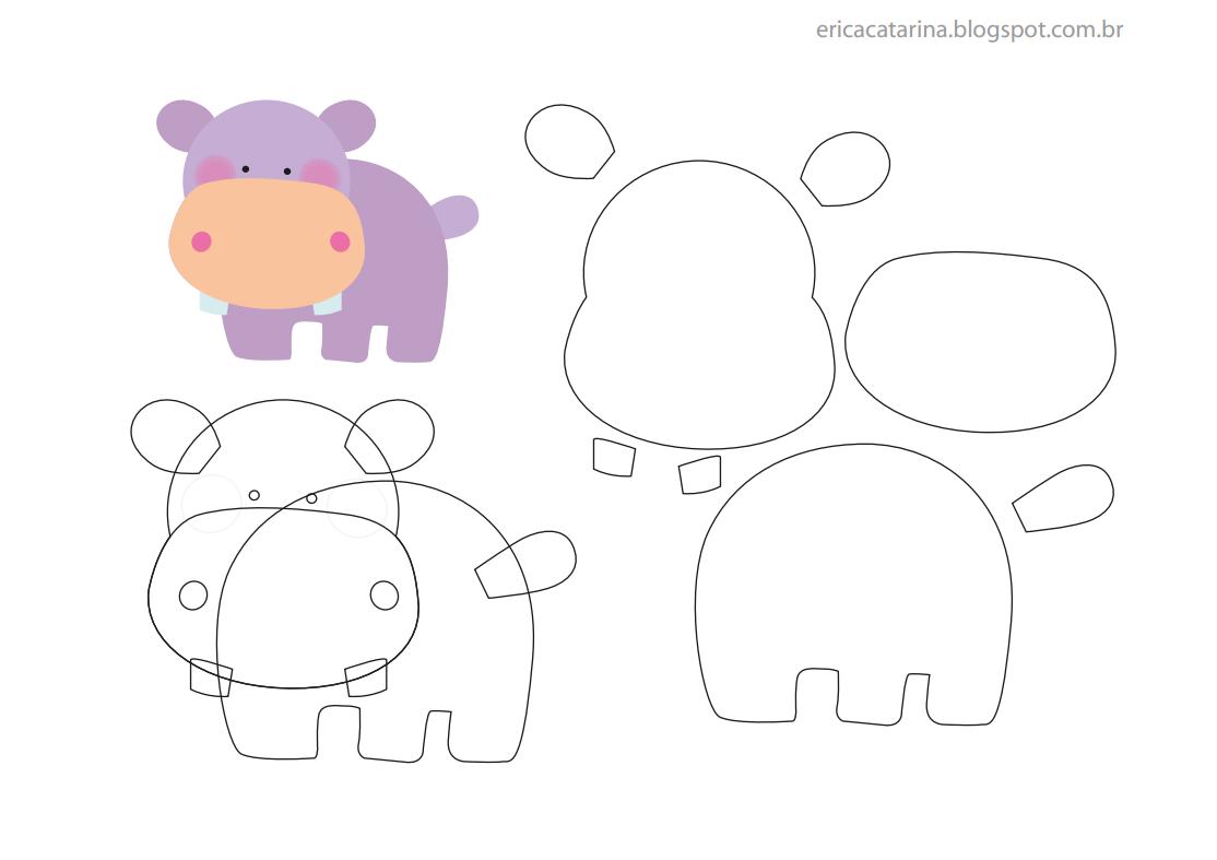 Amigas do Feltro   Hippopotamus, Template and Patterns