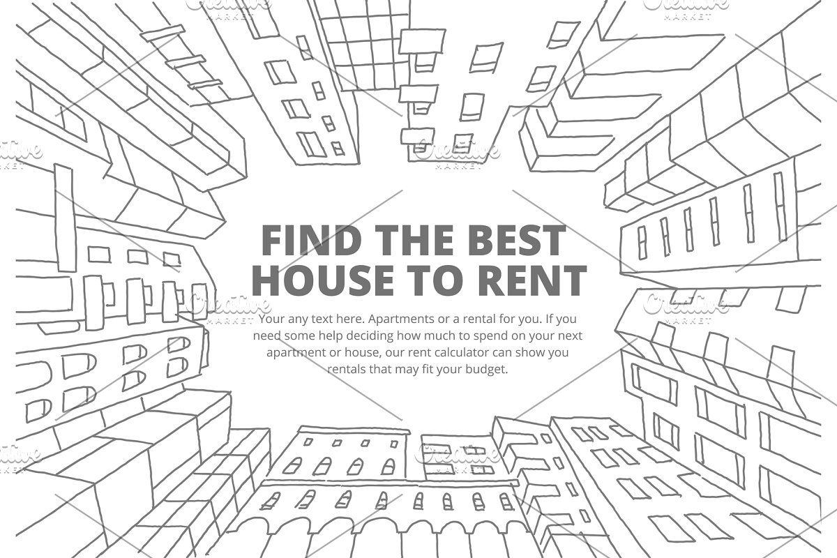Background For Text On The Rental Of Real Estate Sketch Apartment House In A Circle Frame Hand Drawn Black Line Flat Vector Illustration Stock Clipart Background For Text Business Cards Layout