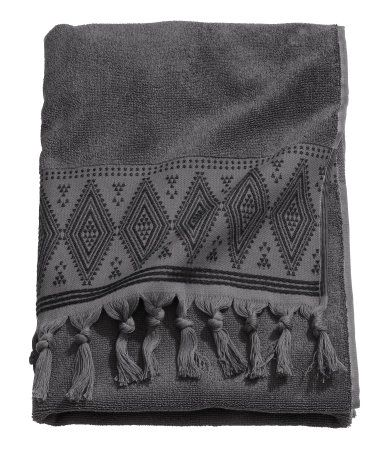 Dark Gray Bath Towel In Soft Cotton Terry With An Embroidered