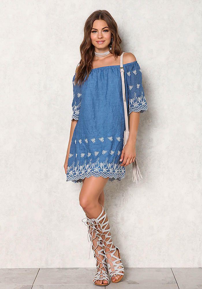 Blue Crepe Embroidered Off Shoulder Dress
