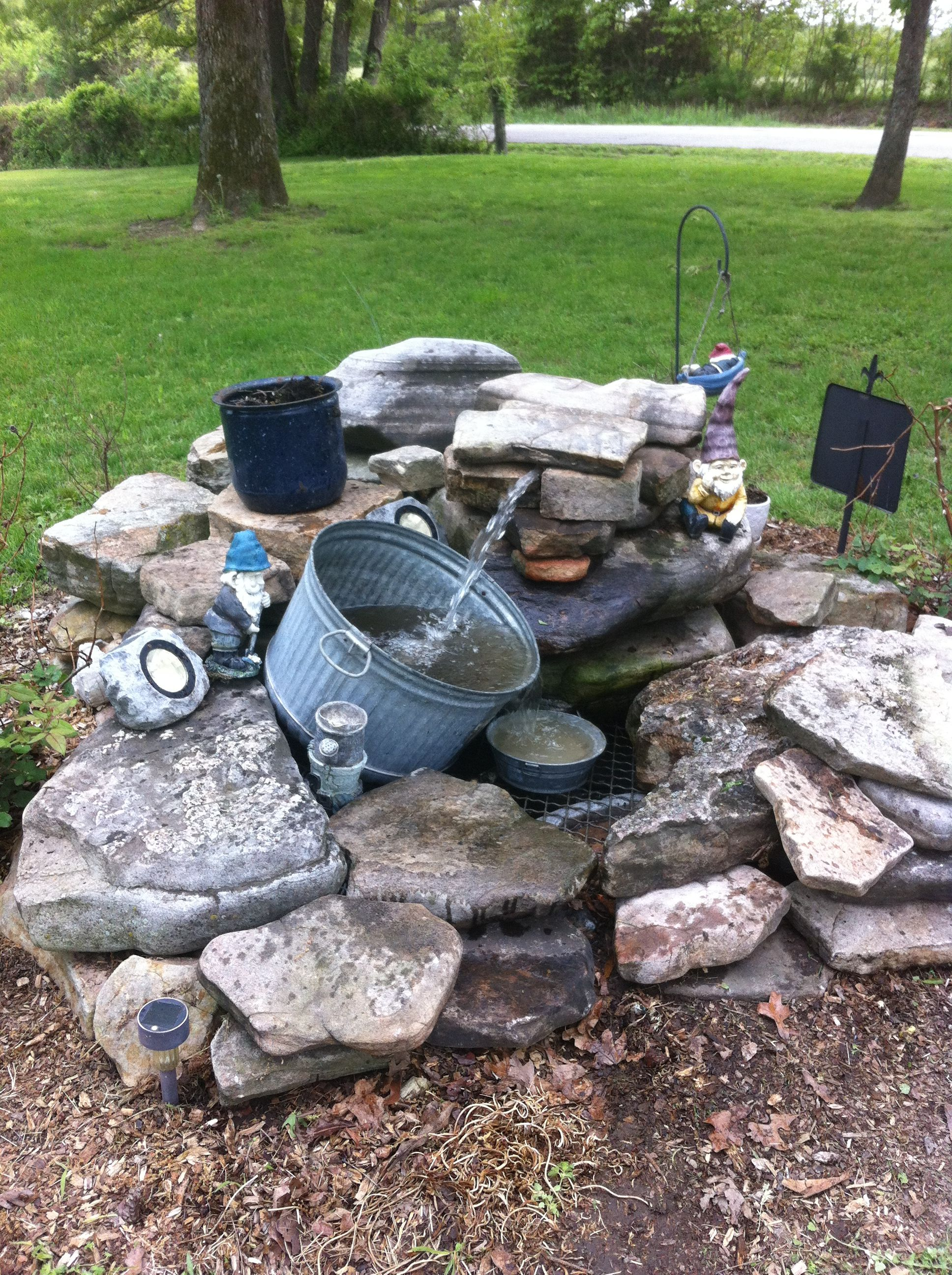 diy rustic outdoor water feature water features pinterest outdoor water features water. Black Bedroom Furniture Sets. Home Design Ideas