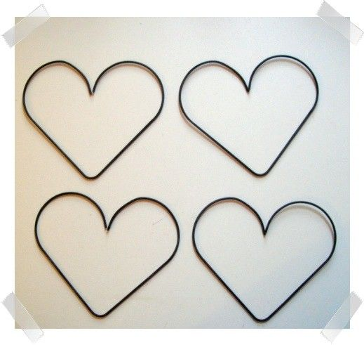 Set/4 Thick Large Metal Wire Hearts/Free Small Hearts   Metals ...