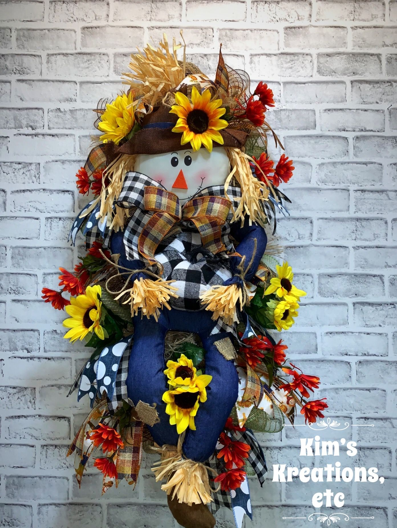 Reserved For Shawna Lea Scarecrow Swag Free Shipping Fall Scarecrow Fall Door Swag Front Door Swag For Fall Fall Wreath Denim Scarecrow Fall Door Wreat In 2020 Door Wreaths Fall