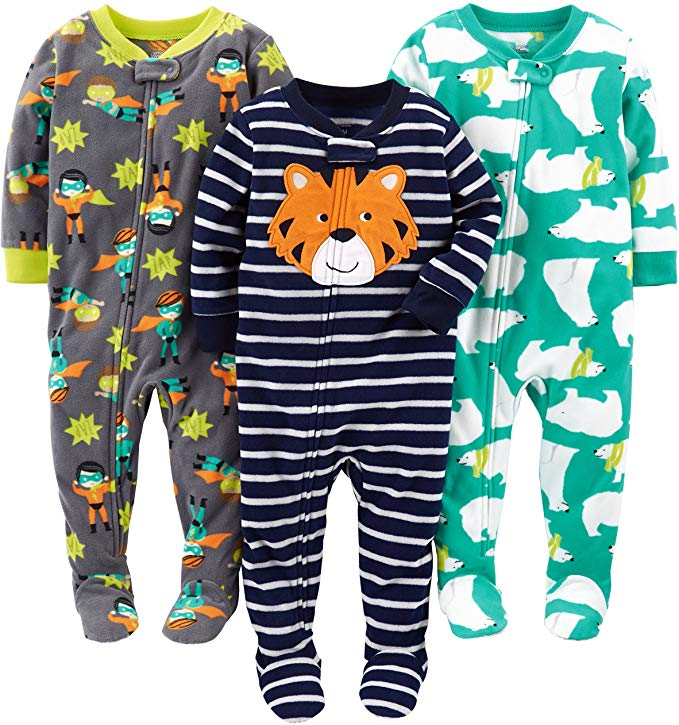 Simple Joys by Carters Baby and Toddler Boys 3-Pack Loose Fit Fleece Footless Pajamas
