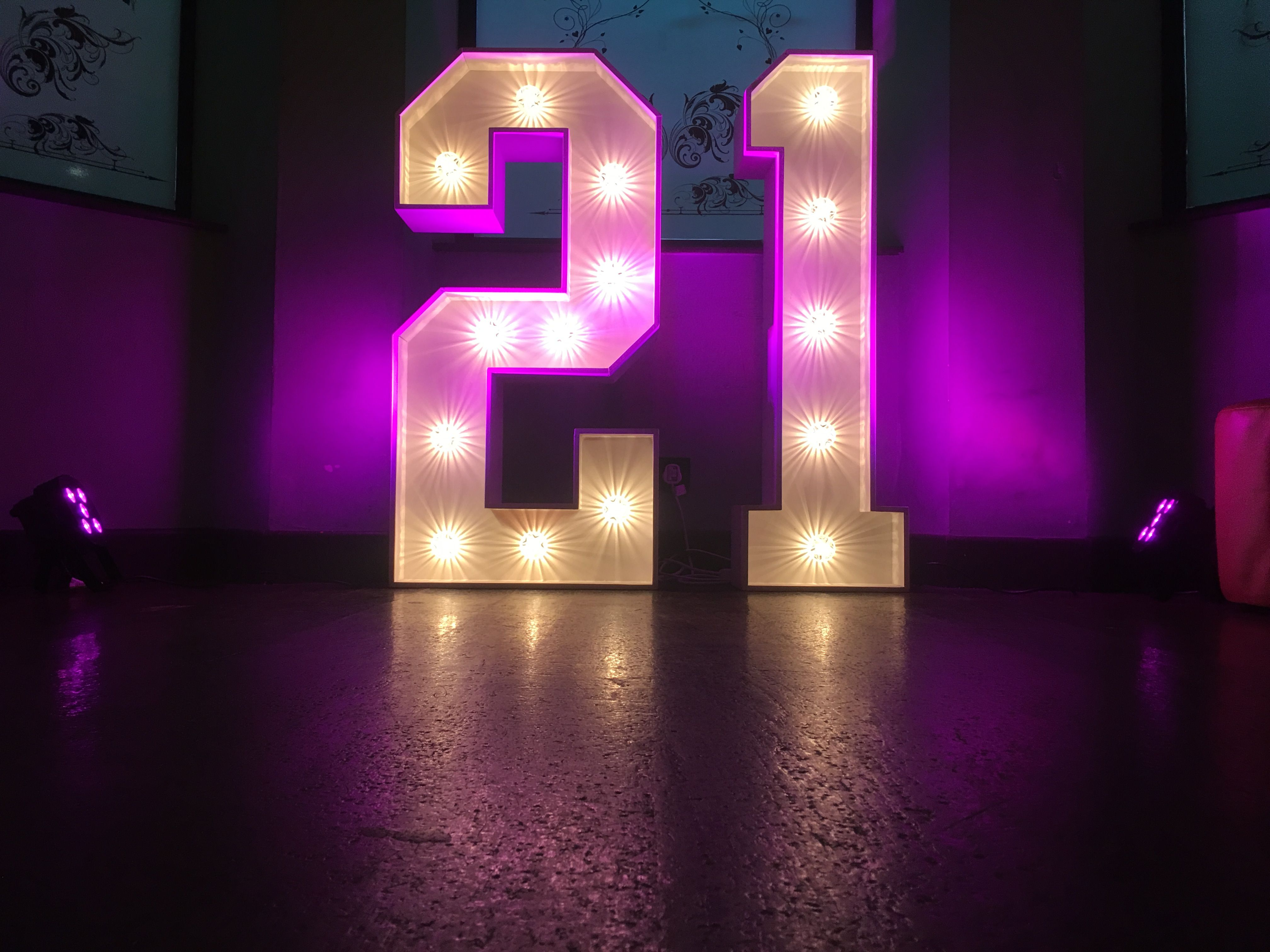 Light Up 21 For 21st Birthday In Hastings Backlit Letters With Pink Wash Lights Giant Letters Marquee Wedding Wedding Letters
