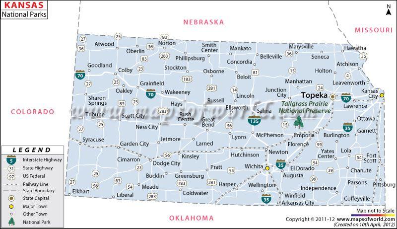 Map Of KansasUS National Parks Maps Pinterest Kansas - Us kansas maps
