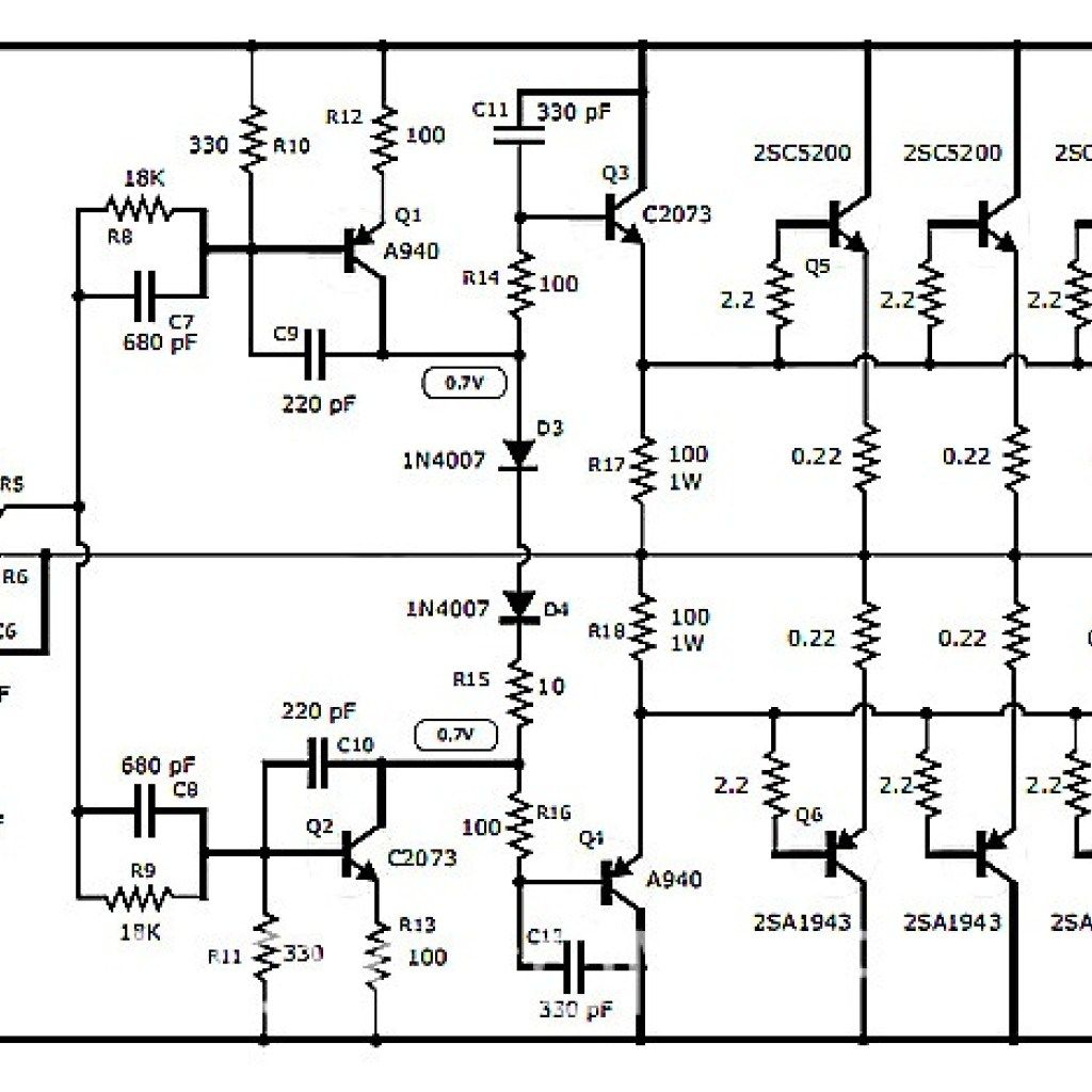 Audio Amplifier Circuit Diagram With Layout Wiring Three Way Switch 1000w Stereo Transistor 2sc5200