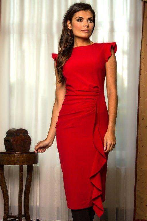 Červené koktejlové šaty s volánem Kartes Moda 14209  bff050ca97