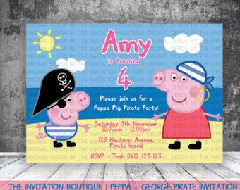 Personnalisé George Peppa Pig Party Invitations et enveloppes
